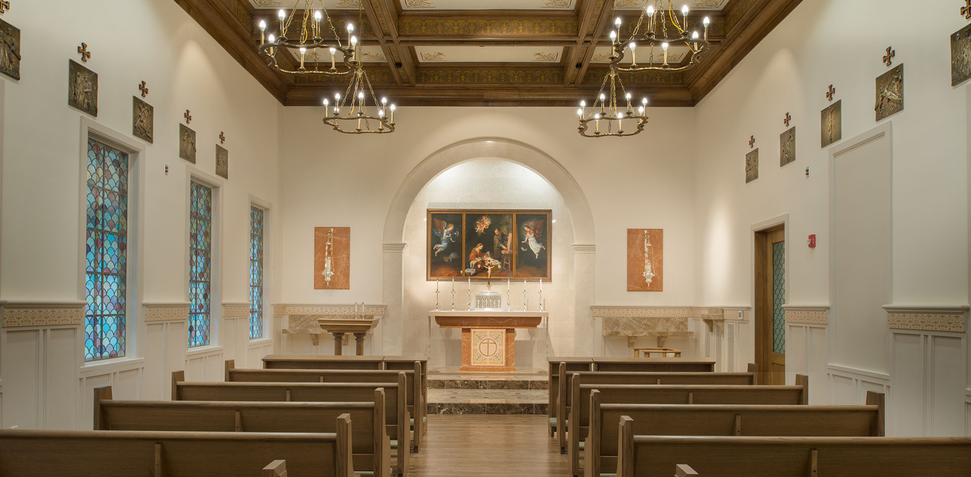 Chapel Award winning Opus Dei, Oratory, Sacristy, liturgical space, young women, daily mass